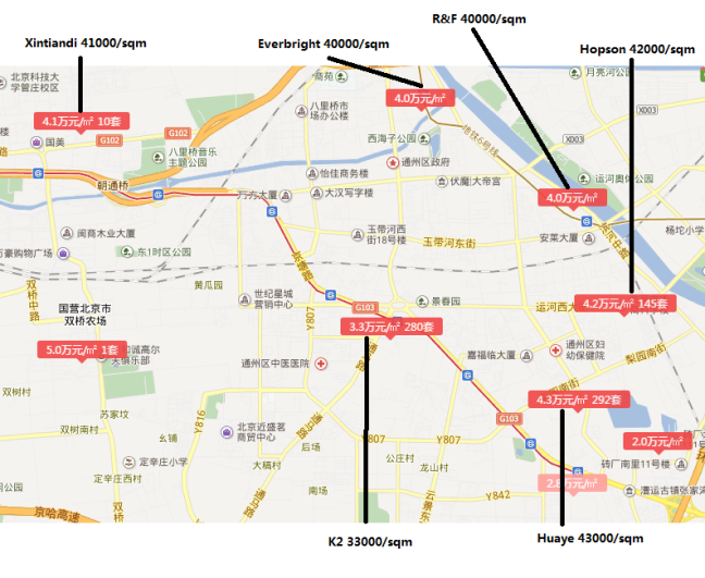 XIN Tongzhou Liyuan area Map April 2016 -2